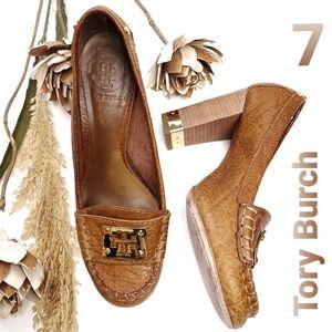 Tory Burch All Leather Tan Gold Chunky Heel 7
